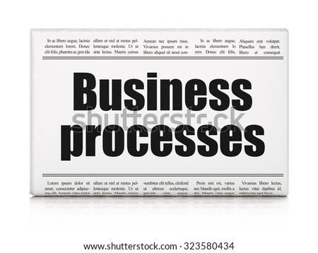 Finance concept: newspaper headline Business Processes on White background, 3d render - stock photo