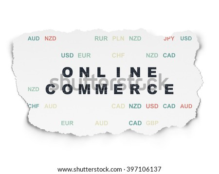 Finance concept: Online Commerce on Torn Paper background