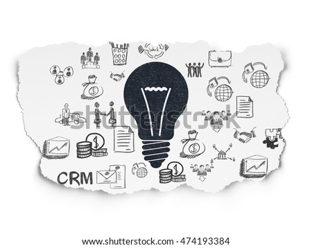 Finance concept: Painted black Light Bulb icon on Torn Paper background with  Hand Drawn Business Icons