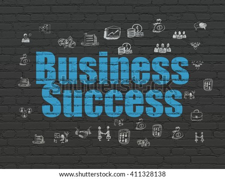 Finance concept: Painted blue text Business Success on Black Brick wall background with  Hand Drawn Business Icons - stock photo