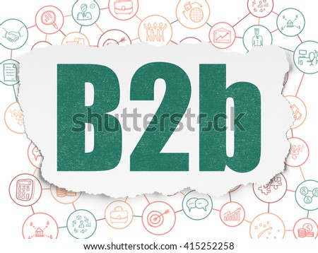 Finance concept: Painted green text B2b on Torn Paper background with Scheme Of Hand Drawn Business Icons - stock photo