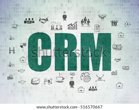 Finance concept: Painted green text CRM on Digital Data Paper background with  Hand Drawn Business Icons