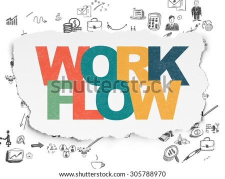 Finance concept: Painted multicolor text Workflow on Torn Paper background with Scheme Of Hand Drawn Business Icons, 3d render