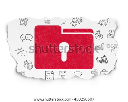 Finance concept: Painted red Folder With Keyhole icon on Torn Paper background with  Hand Drawn Business Icons