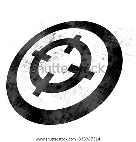 Finance concept: Pixelated black Target icon on Digital background - stock photo