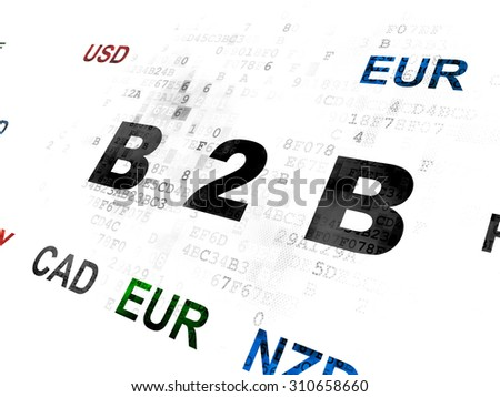 Finance concept: Pixelated black text B2b on Digital wall background with Currency - stock photo