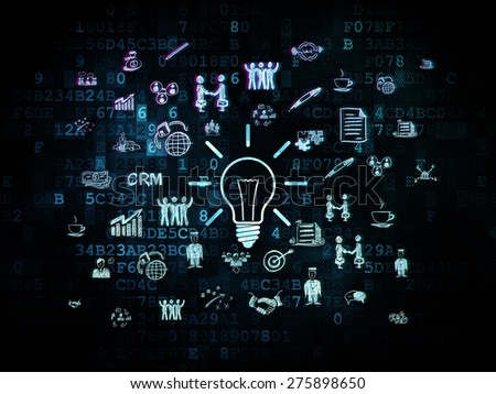 Finance concept: Pixelated blue Light Bulb icon on Digital background with  Hand Drawn Business Icons, 3d render - stock photo