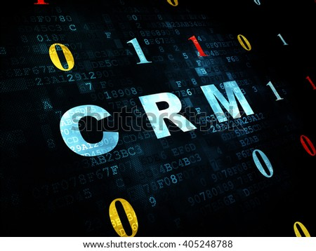 Finance concept: Pixelated blue text CRM on Digital wall background with Binary Code - stock photo