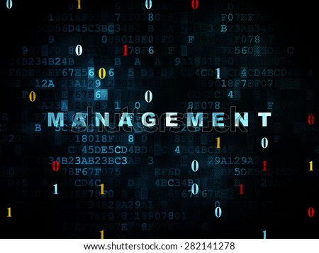 Finance concept: Pixelated blue text Management on Digital wall background with Binary Code, 3d render - stock photo