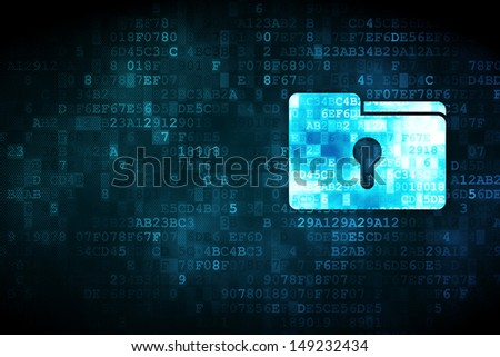 Finance concept: pixelated Folder With Keyhole icon on digital background, empty copyspace for card, text, advertising, 3d render