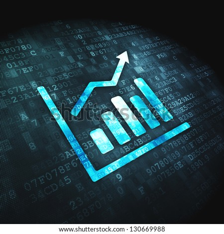 Finance concept: pixelated Growth Graph icon on digital background, 3d render - stock photo