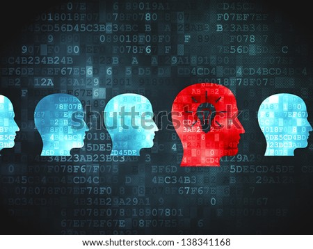Finance concept: pixelated Head Whis Lightbulb icon on digital background, 3d render - stock photo