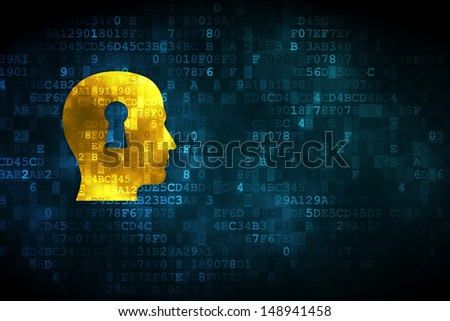 Finance concept: pixelated Head With Keyhole icon on digital background, empty copyspace for card, text, advertising, 3d render