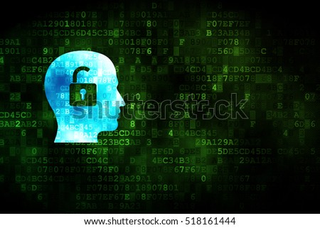 Finance concept: pixelated Head With Padlock icon on digital background, empty copyspace for card, text, advertising
