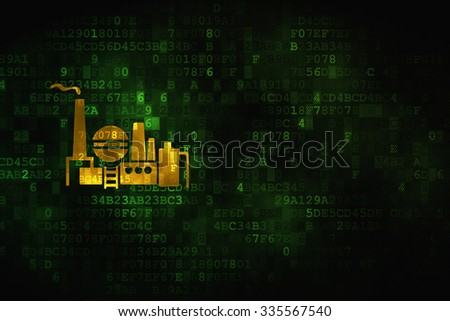 Finance concept: pixelated Oil And Gas Indusry icon on digital background, empty copyspace for card, text, advertising - stock photo