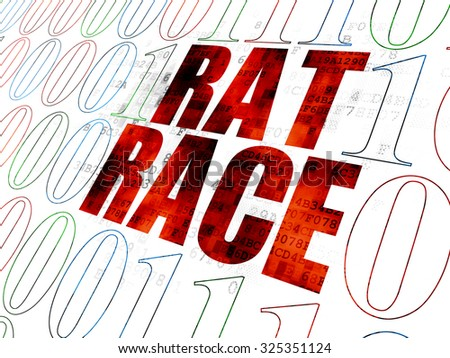 Finance concept: Pixelated red text Rat Race on Digital wall background with Binary Code