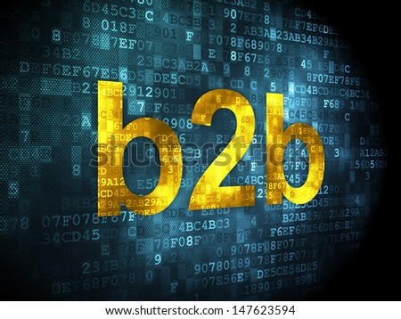 Finance concept: pixelated words B2b on digital background, 3d render - stock photo