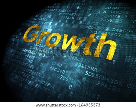 Finance concept: pixelated words Growth on digital background, 3d render