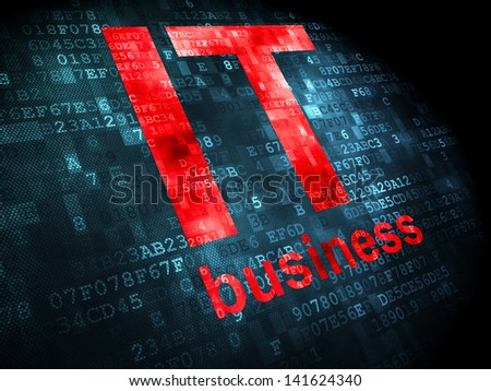 Finance concept: pixelated words IT Business on digital background, 3d render - stock photo