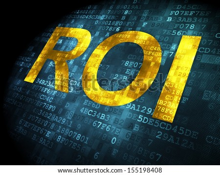 Finance concept: pixelated words ROI on digital background, 3d render - stock photo