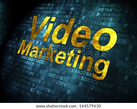 Finance concept: pixelated words Video Marketing on digital background, 3d render