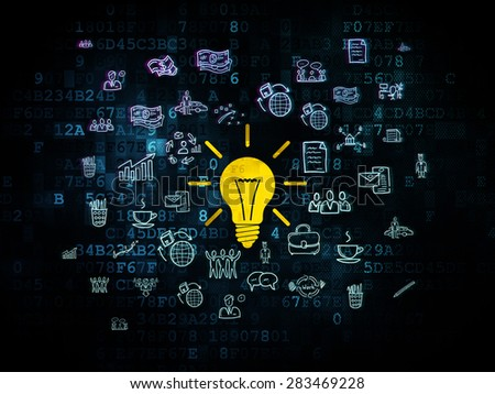 Finance concept: Pixelated yellow Light Bulb icon on Digital background with  Hand Drawn Business Icons, 3d render - stock photo