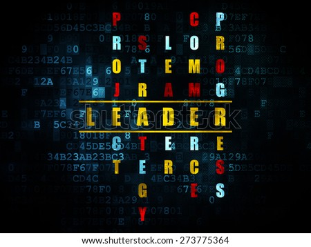 Finance concept: Pixelated yellow word Leader in solving Crossword Puzzle on Digital background, 3d render - stock photo