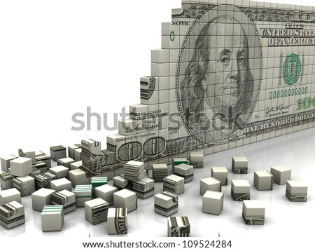 Finance concept: puzzle dollar with pieces near by - stock photo