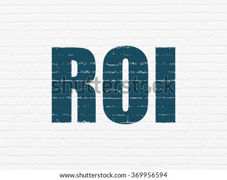 Finance concept: ROI on wall background - stock photo