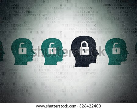 Finance concept: row of Painted blue head with padlock icons around black head with padlock icon on Digital Paper background