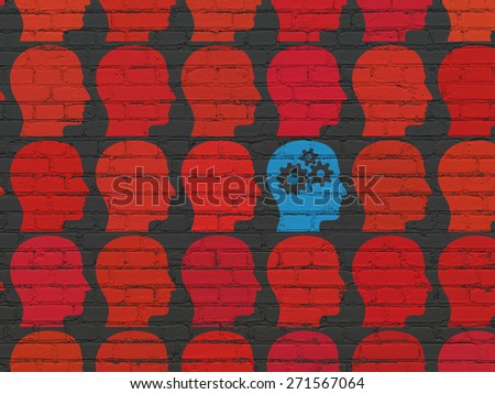 Finance concept: rows of Painted red head icons around blue head with gears icon on Black Brick wall background, 3d render - stock photo