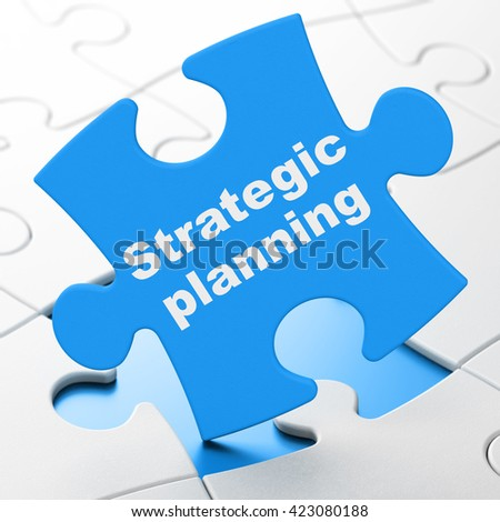 Finance concept: Strategic Planning on Blue puzzle pieces background, 3D rendering - stock photo
