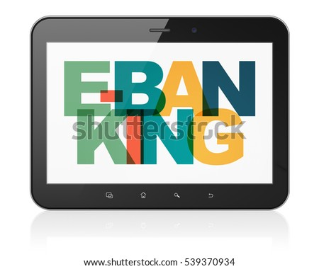 Finance concept: Tablet Computer with Painted multicolor text E-Banking on display, 3D rendering
