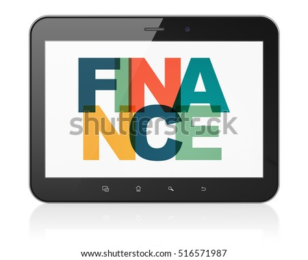 Finance concept: Tablet Computer with Painted multicolor text Finance on display, 3D rendering