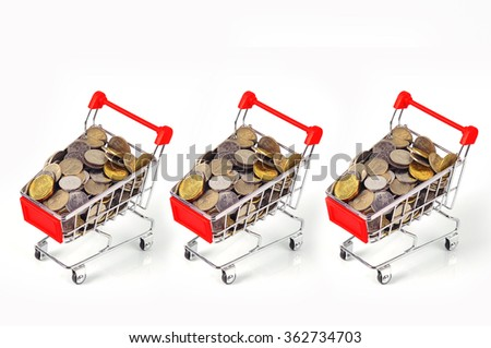 Finance Conceptual,Coins in shopping trolley