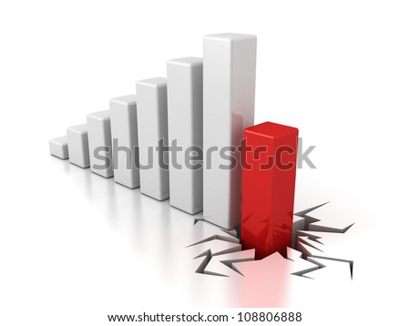 finance crisis bar graph diagram on white background - stock photo