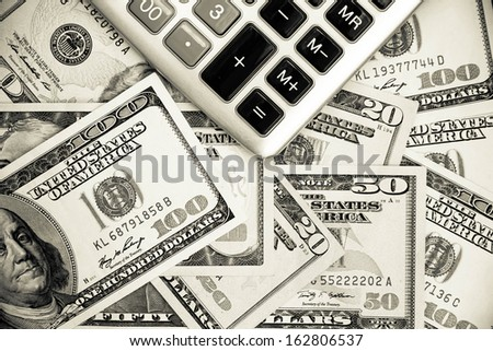 Finance, Dollar and calculator, black and white style