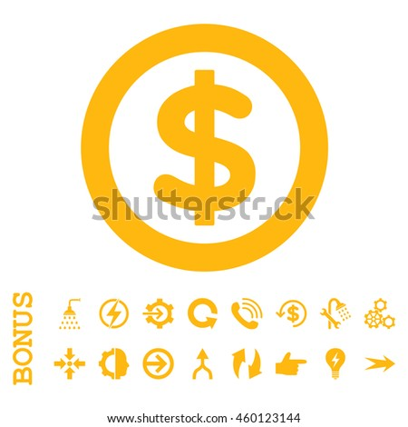 Finance glyph icon. Image style is a flat pictogram symbol, yellow color, white background. - stock photo