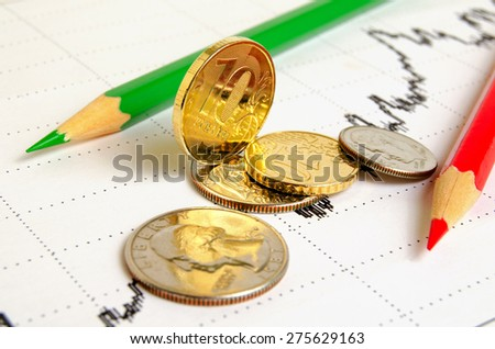 Finance graph coins and colored pencils.