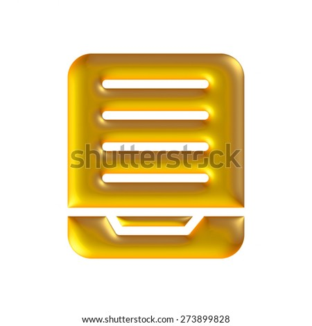 Finance icon in gold on isolated white background.