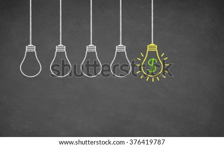 Finance Idea Bulb Choose on Blackboard. Dollar Concept