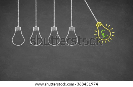 Finance Idea Bulb Choose on Blackboard. GB pound Concept