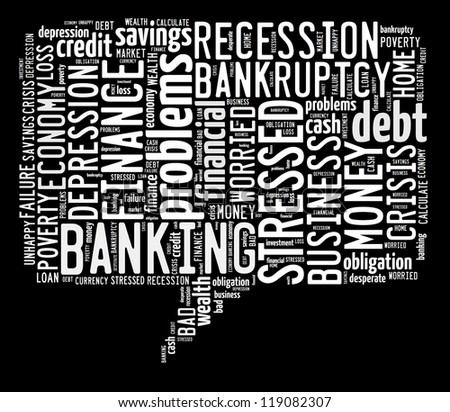 Finance info-text graphic and arrangement concept on black background (word cloud)