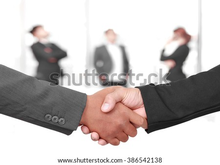 Finance make in active businessman handshake and business people