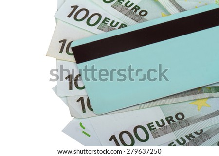Finance money concept, detailed close up view of one hundred euros under credit card, isolated on white background, payment. - stock photo