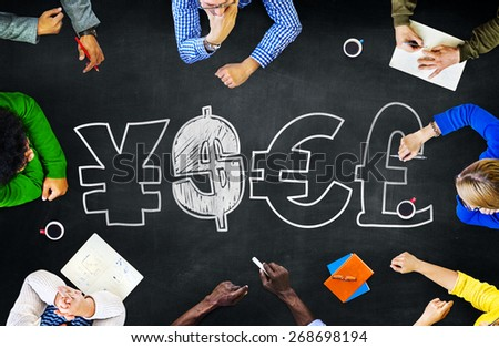Finance Money Currency Learning Studying Education Brainstorming Concept - stock photo