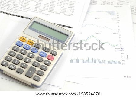 Finance statement with calculator