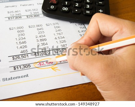 Finance statement with calculator and hand of someone