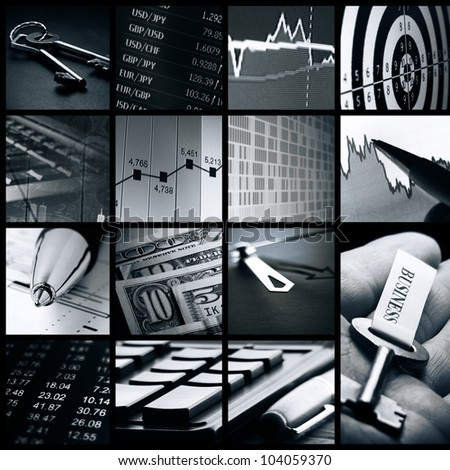Finance system collage. Monochrome image. - stock photo