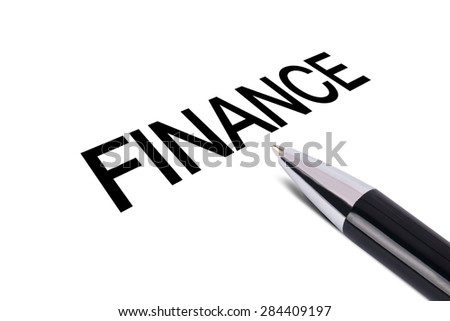 Finance text writing, black pen, isolated on white background.